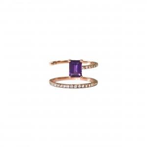 Bague Bella S Purple Or rose, Améthyste et diamants