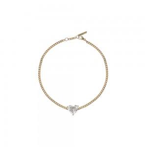 Bracelet Just Joy Heart or jaune et diamant coeur